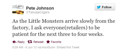 Pete Johnson Little Monster Tweet