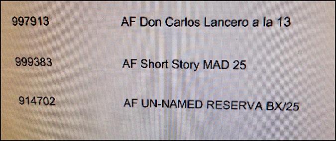 Arturo Fuente Unnamed Reserve 2012 Invoice