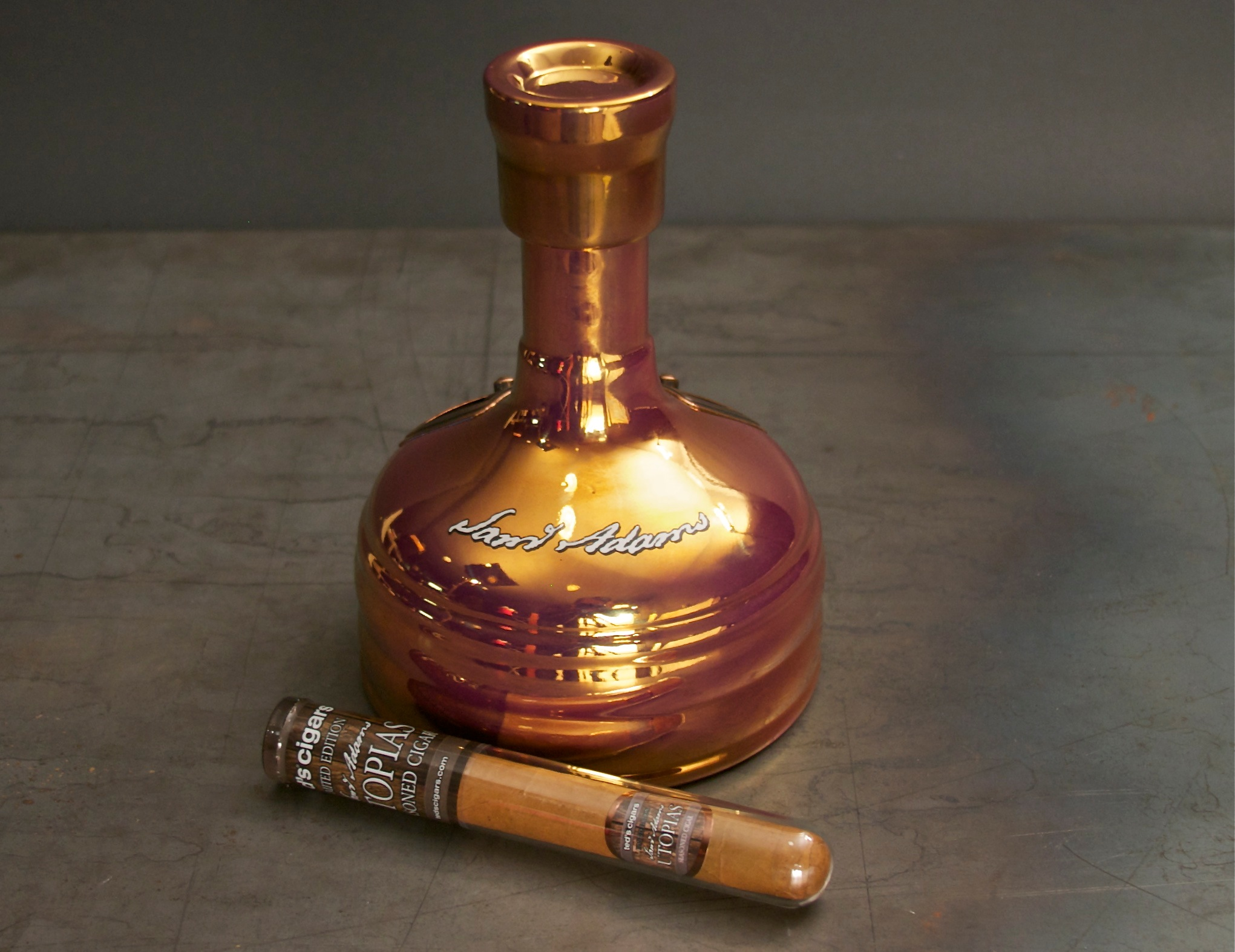 Ted's Sam Adams Utopias Bottle and Cigar