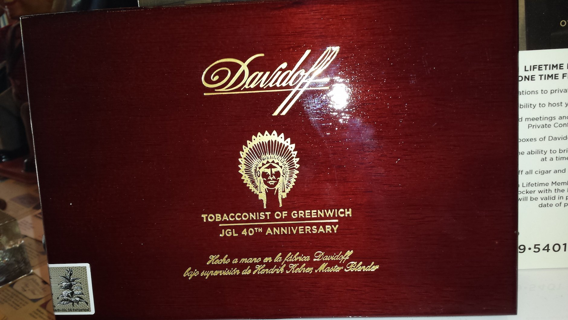 Davidoff Tobacconist of Greenwich JGL 40 Years 1